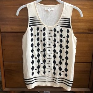 Madewell ivory tank with black tribal pattern sz M